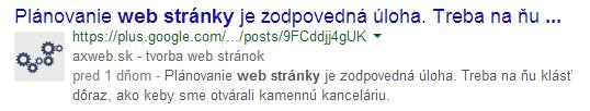 Google Authorship Snippet vo výsledkoch vyhľadávania web stránok.